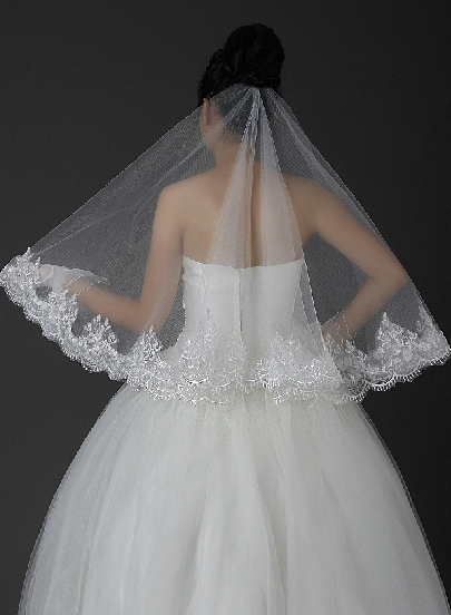 Elbow Applikques Wedding Veil