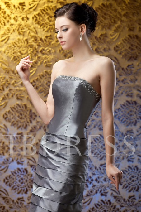 Beaded Tiered Sheath Mother of the Bride Dress With Jacket