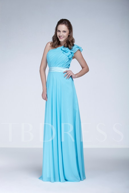 Ruched A-Line One-Shoulder Floor-Length Ela's New Bridesmaid Dress