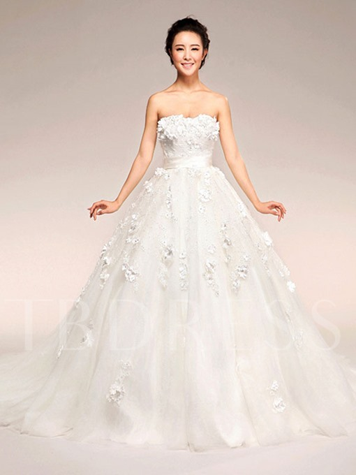 Lace Strapless Court Trian Ball Gown Wedding Dress