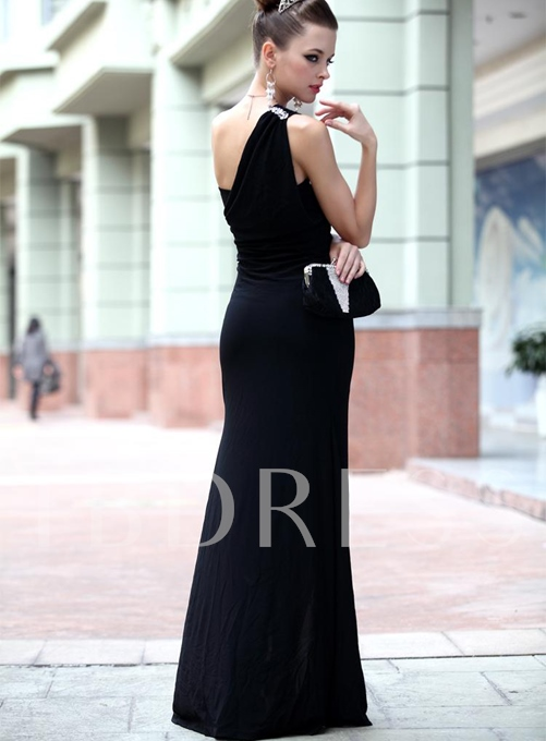 One-Shoulder Rhinestone Split-Front Evening Dress