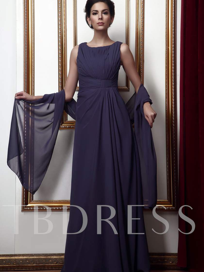 Pleats Long Mother of The Bride Dress With Shawl