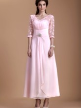 Lace Half Sleeves Ankle-Length Mother of the Bride Dress