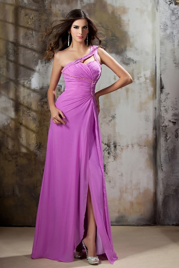 Column One-Shoulder Ruched Evening Dress