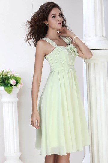 Ruched A-Line Straps Flowers Sashes/Ribbons Short Bridesmaid Dress