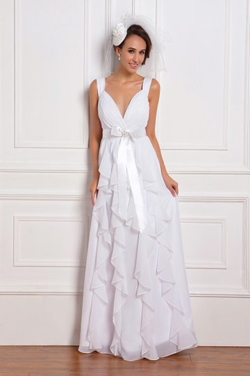 Empire Straps Floor-Length Ruffles Column Wedding Dress