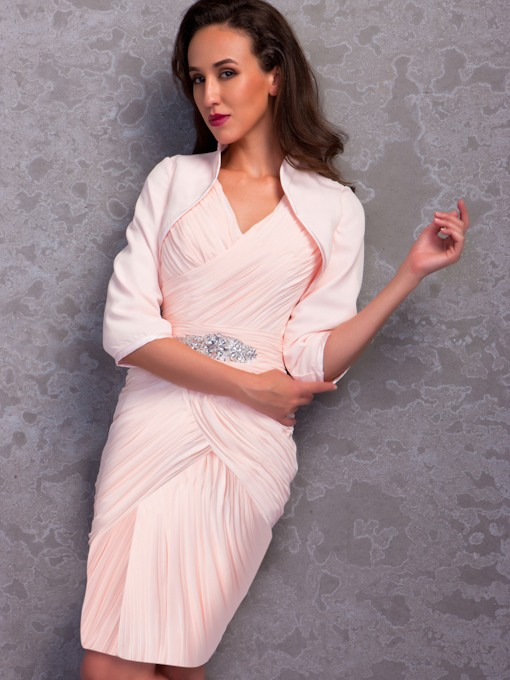 Column Pleats Knee-Length Mother of the Bride Dress with Jacket