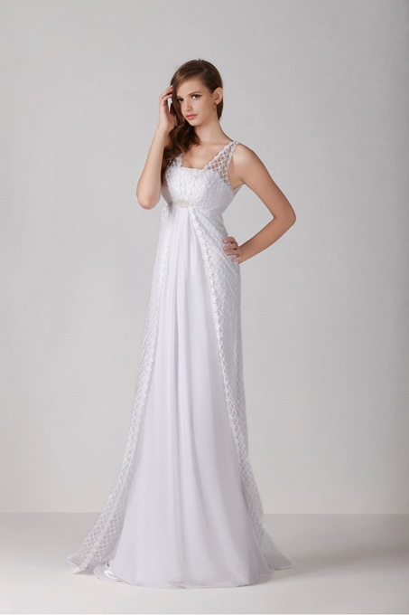 Empire V-Neck Lace Maternity Wedding Dress