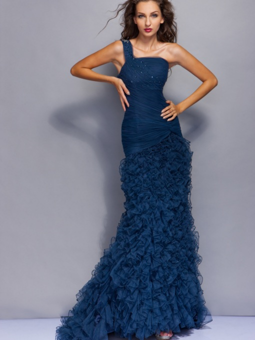 One Shoulder Beading Ruffles Mermaid Evening Dress