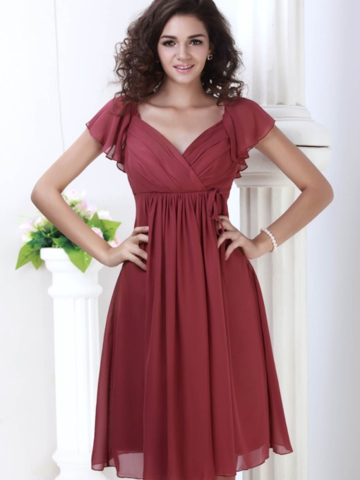 Ruched Empire Waist Short Bridesmaid Dress