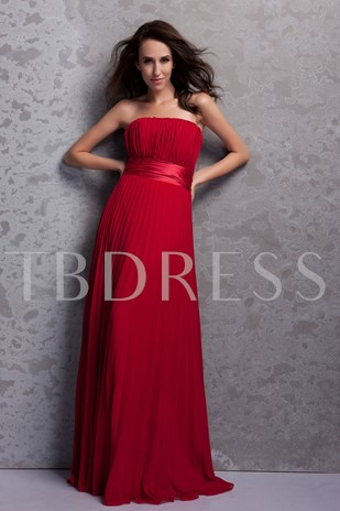 Pleats Strapless Empire Waist Bridesmaid Dress