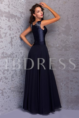 Beaded Straps Pleats Mother Of The Bride Dress