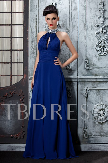 High-Neck Halter Sequins Long Evening Dress