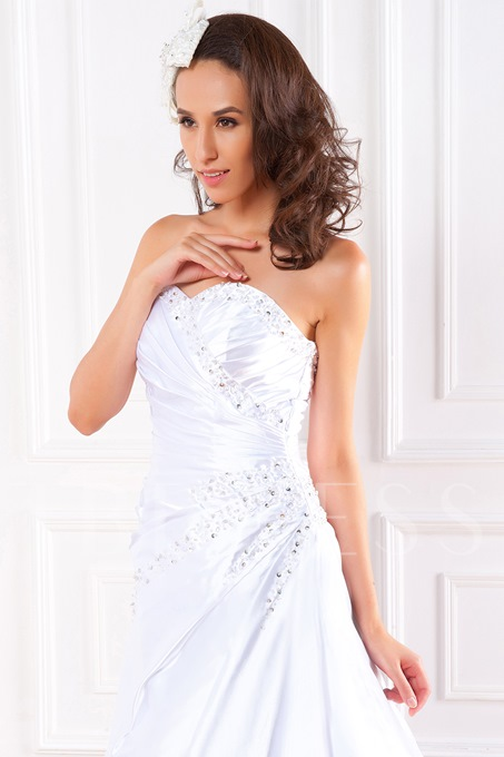 Sweetheart A Line Sweep Train Wedding Dress