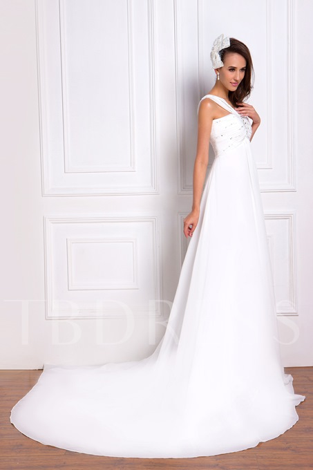 V-neck Beaded Empire Chapel Plus Size Renata's Wedding Gown