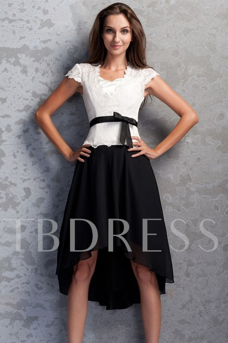 Cap Sleeve Lace High Low Mother of The Bride Dress