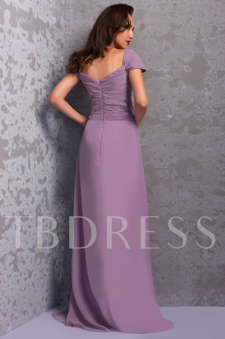 Ruched Capped Sleeve Bridesmaid Dress