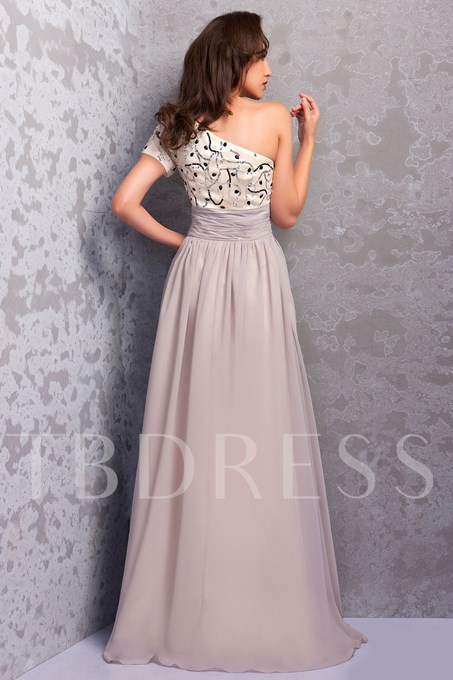 Sequins Beading One Shoulder Mother Dress