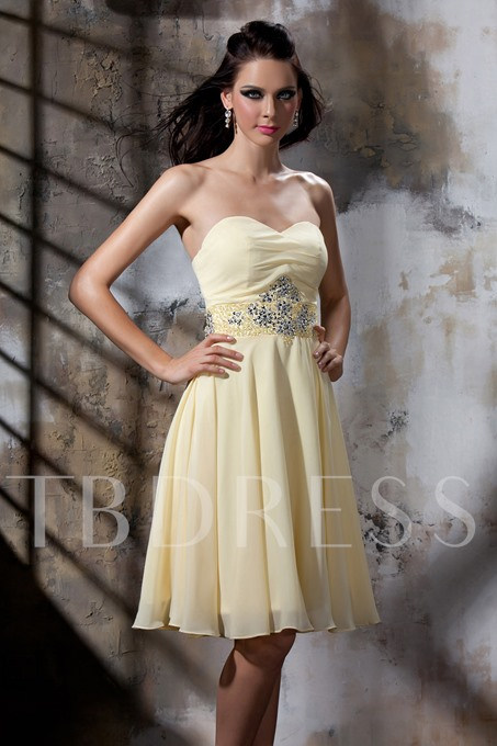 Top Quality A-line Sweetheart Beading Ruched Bridesmaid Dress
