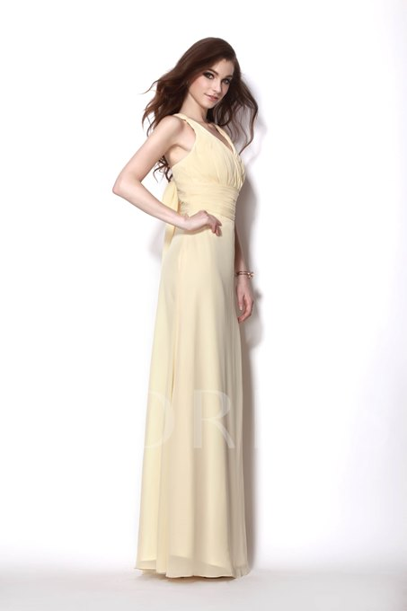V-neck with Rouched Bodice Floor Length A line Natilie's Bridesmaid Dress