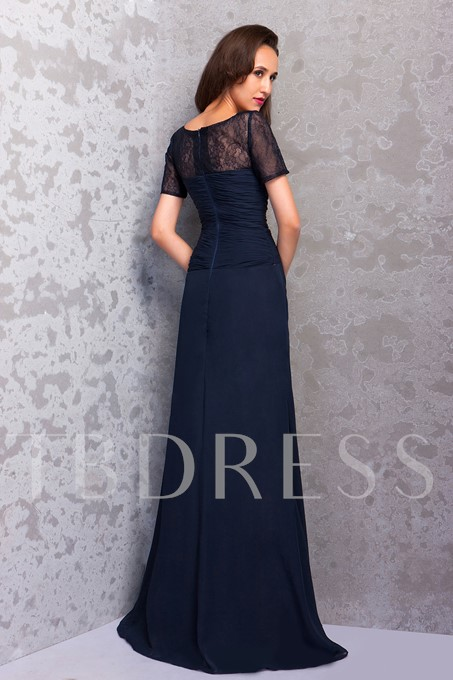 Sheath Lace Short Sleeves Mother of the Bride Dress
