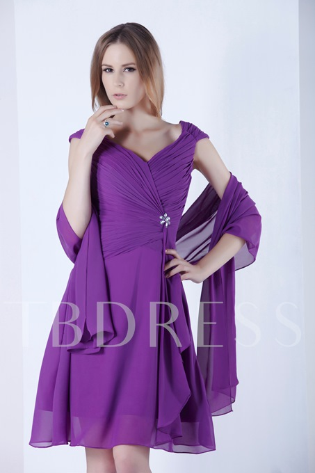 Straps Beaded Knee-Length Mother Dress With Shawl