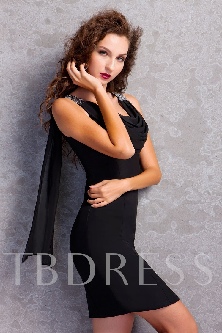 Column Draped Beaded Mother Of The Bride Dress