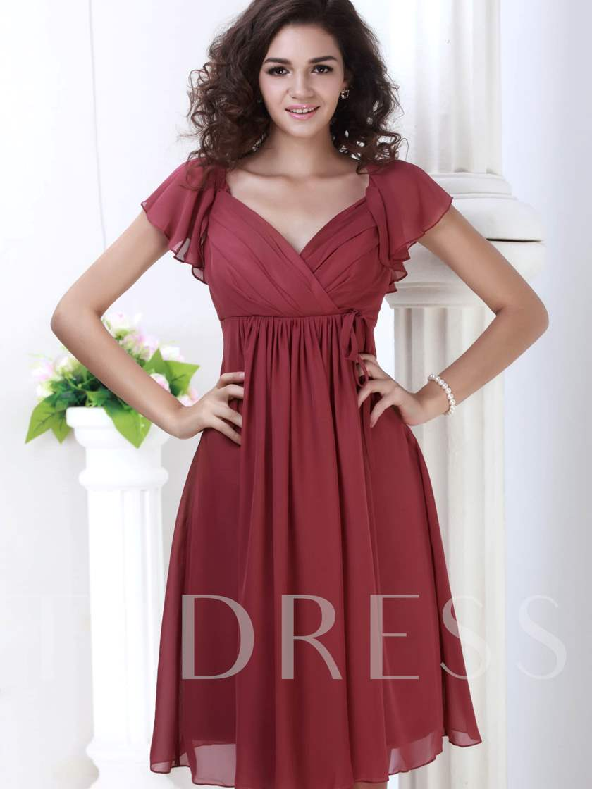 0b30481cc7f5 Ruched Empire Waist Short Bridesmaid Dress - Tbdress.com