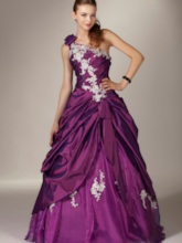 A-Line Floor-Length One Shoulder Quinceanera Dress