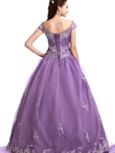 Off-the-Shoulder Embroidery Purple Ball Gown Quinceanera Dress