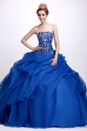 A-Line Floor-Length Strapless Quinceanera Dress