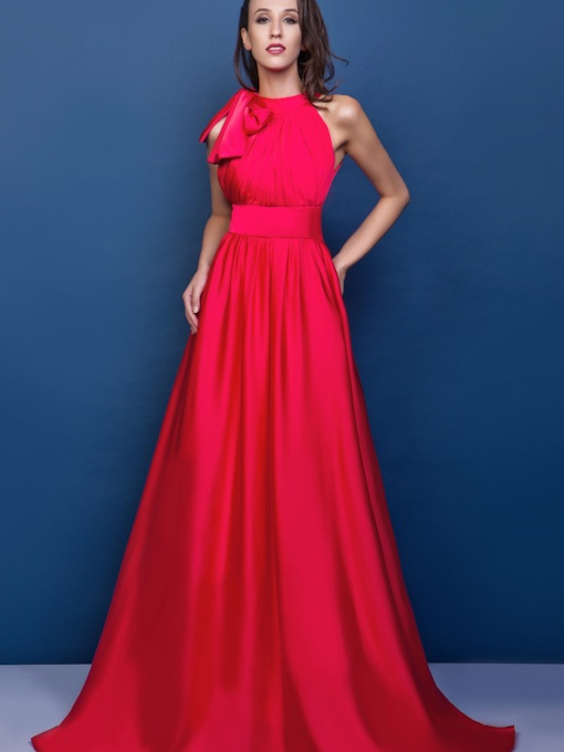 A-line High-neck Sleeveless Court Train Renata's Evening Dress