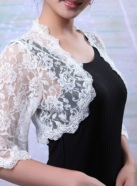 Half Sleeve White Lace Wedding Bolero Jacket with Floral Edge