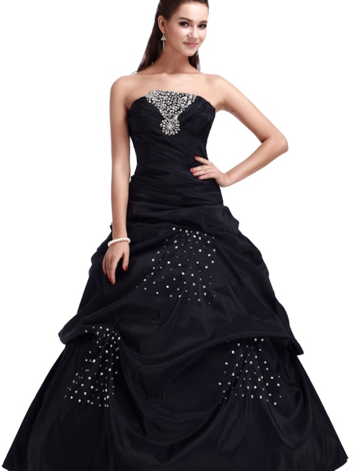 A-line Strapless Floor-length Ball Gown Dress