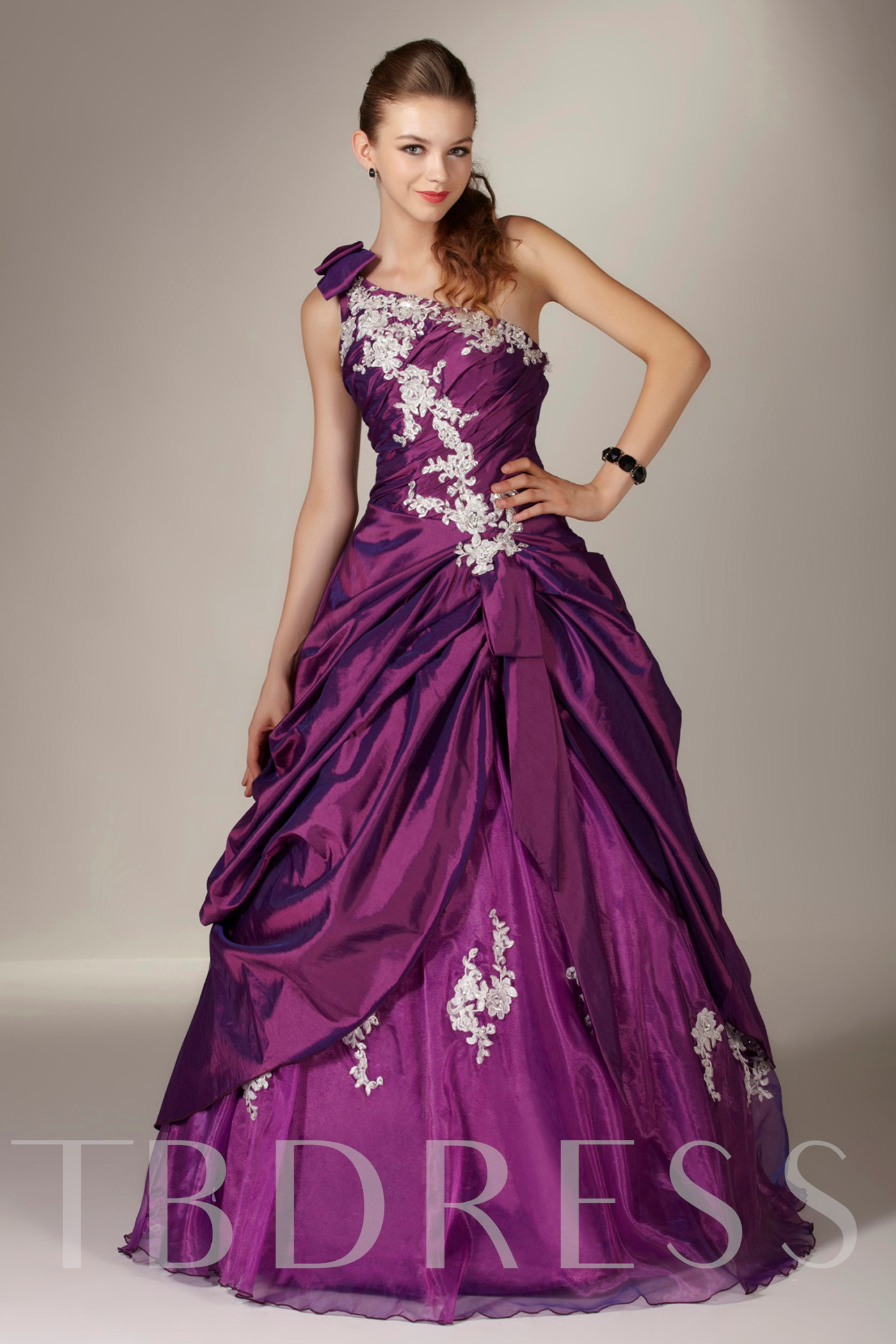 Image of A-Line Floor-Length One Shoulder Quinceanera Dress