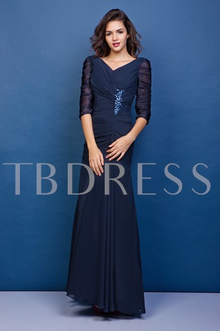 Ruched Sleeves Beaded Mother Of The Bride Dress