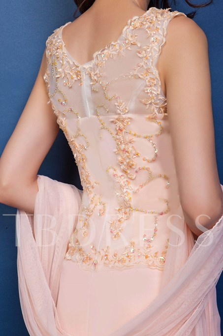 Beaded Appliques Mother of the Bride Dress With Shawl