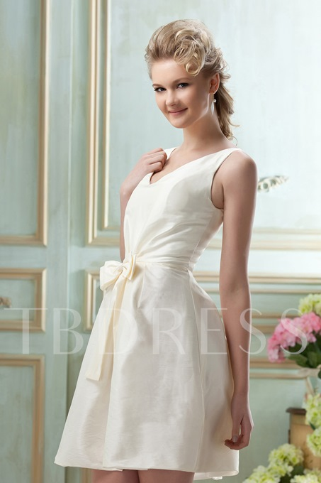 Bowknot A-Line V-Neck Short/Mini Bridesmaid Dress