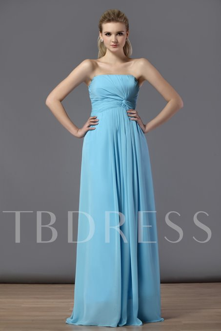 d Ruched A-Line Strapless Floor-Length Bridesmaid Dress