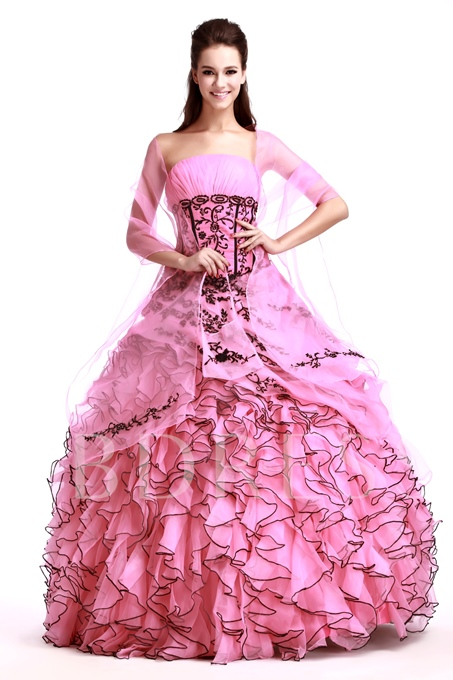 Floor-Length Strapless Quinceanera Dress With Jacket/Shawl