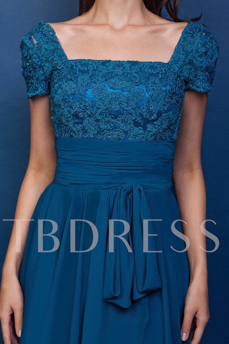 Square Neck Short Sleeve Lace Mother of the Bride Dress