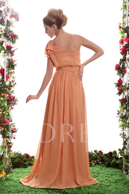 Gentle Ruched A-Line One-Shoulder Floor-Length Sasha's Bridesmaid Dress