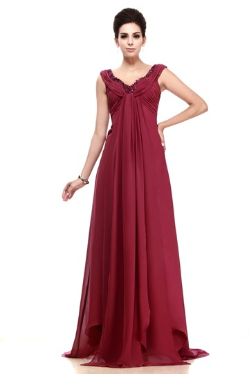 A-line V-Neck Floor-Length Mother Dress Inspired by Natalia Portman