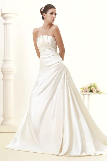 A-line Scalloped-Edge Strapless Chapel Train Taline's Wedding Dress