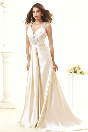 V-Neck Straps Floor-length Taline's Wedding Dress