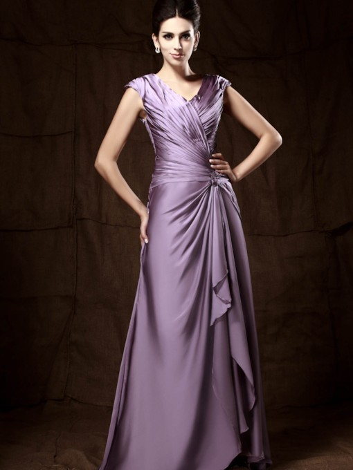 Pleats Column Mother of the Bride Dress