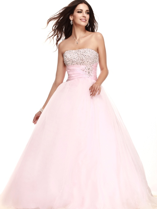 Ball Gown Strapless Empire Waist Beading Long Prom Dress