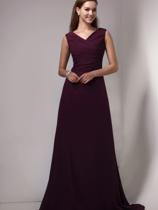 Straps Pleats A-Line Long Bridesmaid Dress