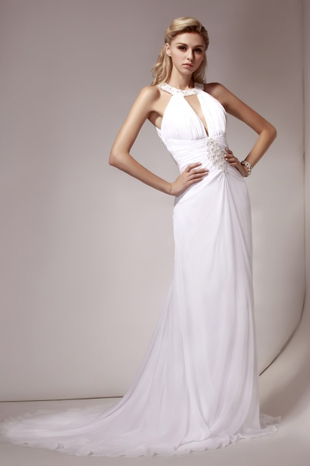 Sheath/Column Halter Beaded Wedding Dress