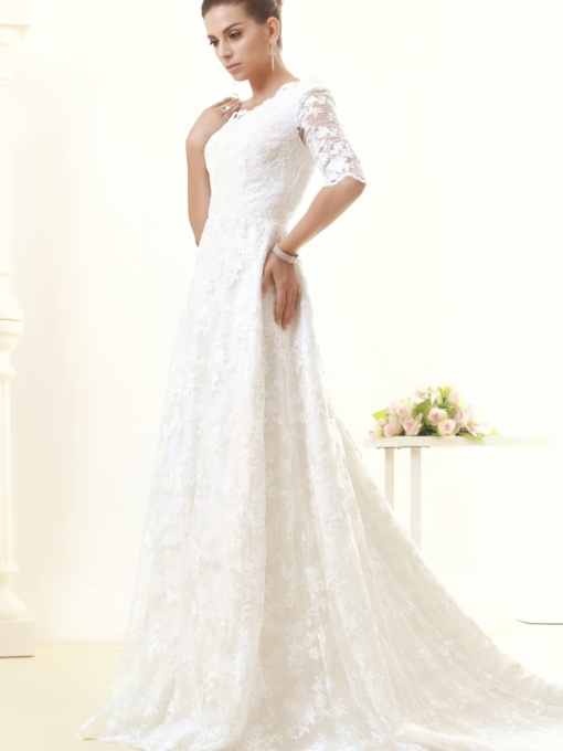 Half Sleeves A-Line Lace Wedding Dress